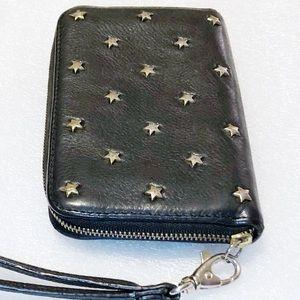 Fossil Black Leather Star Studded Wristlet Clutch